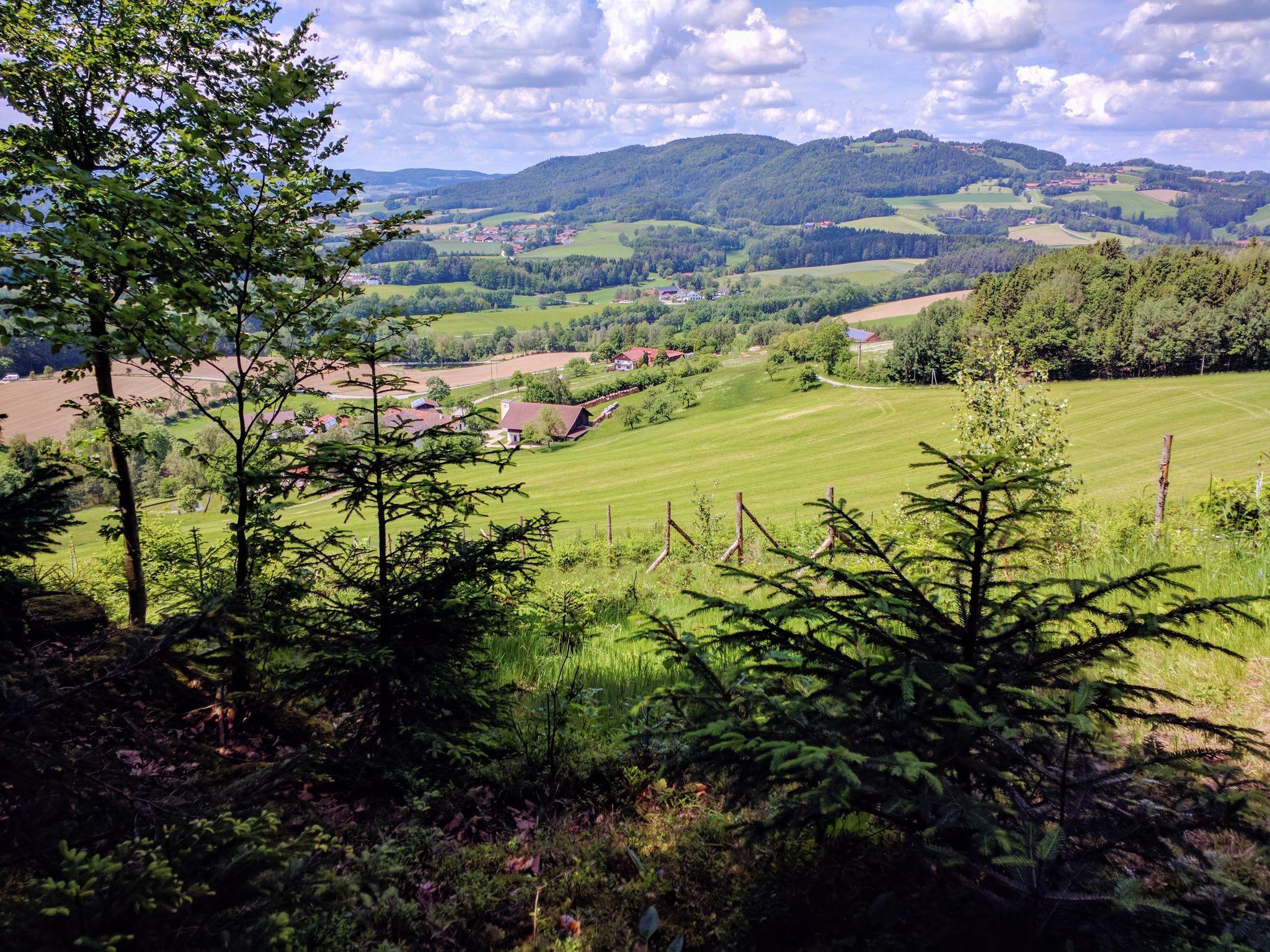 Trans Bayerwald - Der Schlussanstieg hat begonnen, Blick zurück auf Weingarten