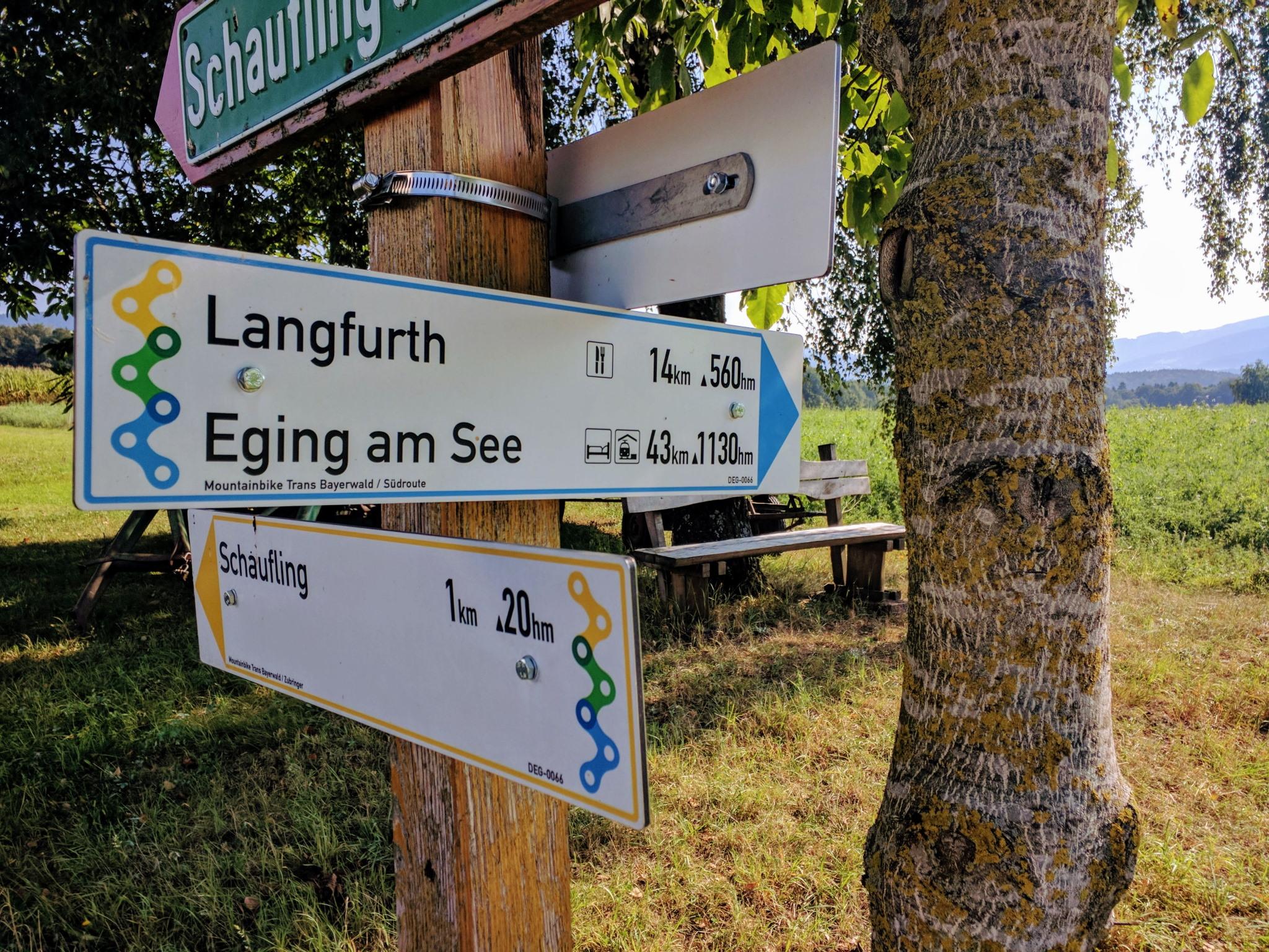 Trans Bayerwald - Wegweiser bei Schaufling